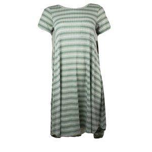 NWT LULAROE Green Striped Carly Dress XXS